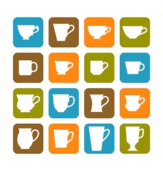 Set of flat mugs on a colored background vector
