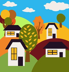 Autumn landscape village on hills with houses and vector