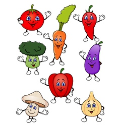 Cute cartoon vegetable collection vector