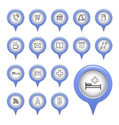 Icons on the map arrow vector