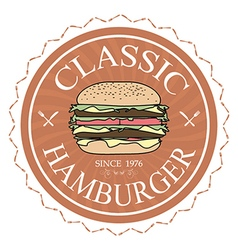 Classic hamburger label stamp banner design vector