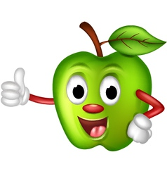 Funny green apple thumbs up vector