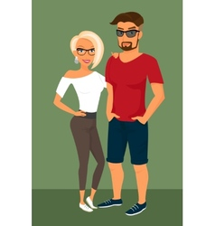 Hipster guy and his blond pretty girlfriend vector