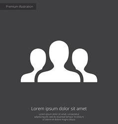 Team premium icon white on dark background vector