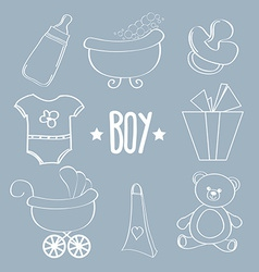 Linear baby boy items set vector