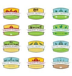 Set of farm labels vector