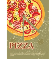 Retro pizza menu template vector
