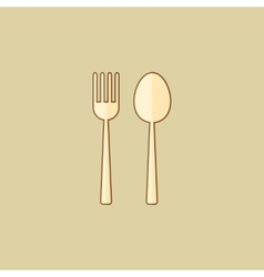 Spoon and fork food flat icon vector