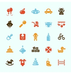 Set of flat design cute baby icons vector