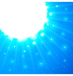 Blue shining sun with flares vector