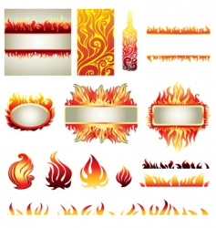 Flame design elements vector