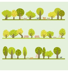 Set of different fruit trees vector