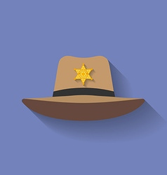 Icon of sheriff hat cowboy hat flat style vector