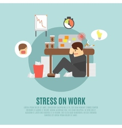 Stress on work flat icon vector