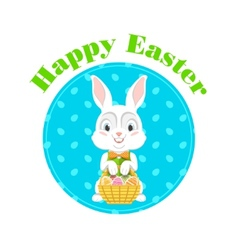 Happy easter with easter bunny vector