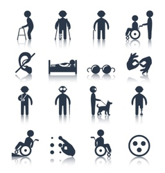 Disabled icons set black vector