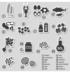 Set of typical food allergens for restaurants vector