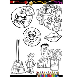 Cartoon sayings set for coloring book vector
