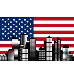City and flag of usa vector