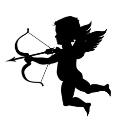 Cupid silhouette isolated on white vector