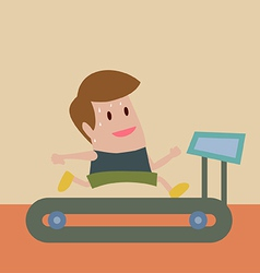 Man jogging on treadmill vector