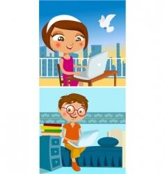 Boy and girl chatting vector