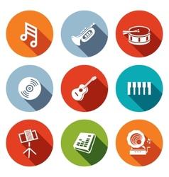 Music flat icons set vector