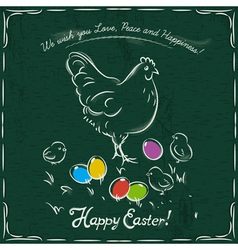 Hen and easter colored eggs on green background vector
