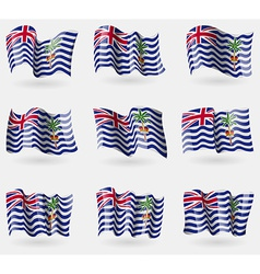 Set of british indian ocean territory flags in the vector