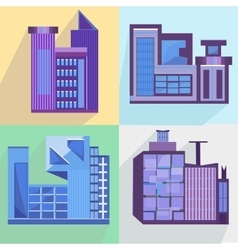 Flat set houses buildings architecture building vector