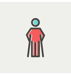Injured man with crutches thin line icon vector