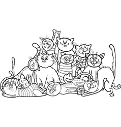 Happy cats group cartoon for coloring book vector