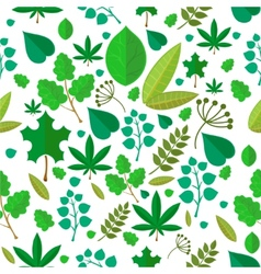 Seamless stylized green leaf pattern background vector