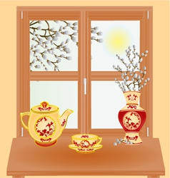 Spring window with pussy willow vase and tea set vector