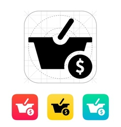 Basket with price icon vector