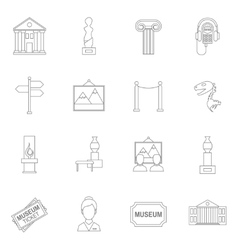 Museum icons outline vector