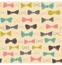 Cute seamless pattern of colored bows on a pastel vector