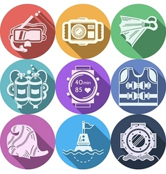 Colored flat icons for diving vector