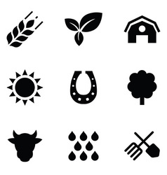 Agriculture 9 icons set vector