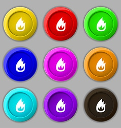 Fire flame icon sign symbol on nine round vector