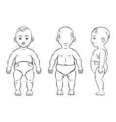 Baby figure front side and back view vector