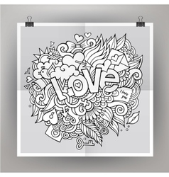 Template poster with love hand lettering and vector