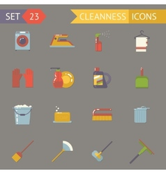 Retro household cleaning symbols accessories icons vector