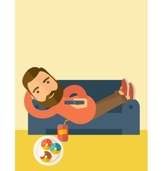 Man lying in the sofa holding a remote vector