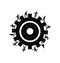 People running around gear vector