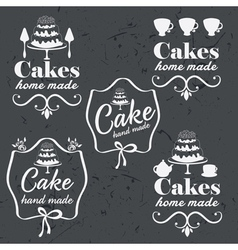 Collection of vintage retro bakery logo labels on vector