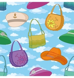 Seamless background handbags and hats vector