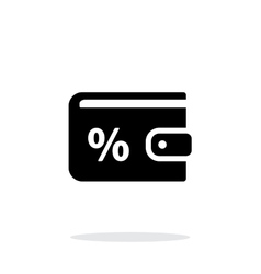 Wallet with percentage icon on white background vector