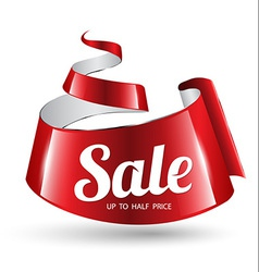 Red ribbon sale banner vector