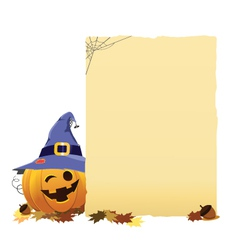 Pumpkin with blank paper vector
